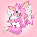 Vector fox cupid with bow and arrow. Illustration of a rose fox cupid for St Valentine's Day. Stock Photo