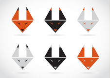 Vector fox face icons set Stock Images