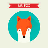 Vector fox icon. Vector icon of cute fox on green background. Trendy flat design style with long shadow. Vector element for web design and infographics . For web Royalty Free Stock Photography