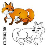 Vector fox, illustration. Vector coloring fox, contour and a color sample Royalty Free Stock Photo