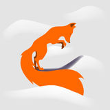 Vector fox jumping in snowdrift. Vector fox is ready to jump in snowdrift Royalty Free Stock Photo