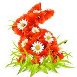 Vector Frühlingsblumen in der Form des Ostern-Rabbiners Lizenzfreies Stockbild
