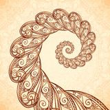 Vector fractal spiral in henna tattoo style Stock Photography