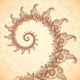 Vector fractal spiral in henna tattoo style Royalty Free Stock Photos