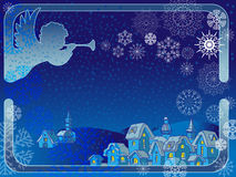 Vector frame with an angel and  snowflakes. Royalty Free Stock Photo