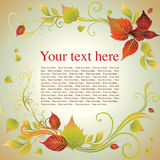 Vector frame with autumn leafs. Thanksgiving Royalty Free Stock Photography