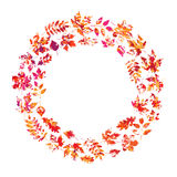 Vector frame with autumn leaves in grunge style Royalty Free Stock Images