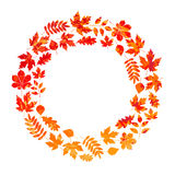 Vector frame with autumn leaves in grunge style Royalty Free Stock Photography