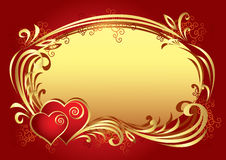 Vector Frame Background. In red-golden color Stock Photo