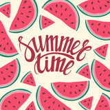 Vector frame background card Summer Time Seamless background with watermelon slices. Vector illustration. design for greeting card and invitation of seasonal Stock Images