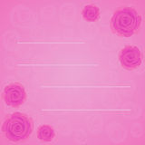 Vector frame of beautiful pink roses on gradient pink background with transparent pink roses silhouette. Flat style of flowers Royalty Free Stock Images