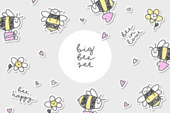 Bees stickers frame Royalty Free Stock Photos