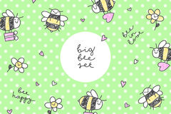 Bees stickers frame Stock Photo