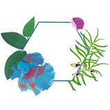Vector frame border with colorful fishes and algae. Vector border circle frame with colorful fishes Royalty Free Stock Images