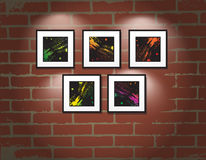 Vector frame on brick wall. Art gallery Royalty Free Stock Image