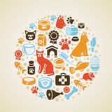 Vector frame with cat and dog icons. Pet love concept Royalty Free Stock Image
