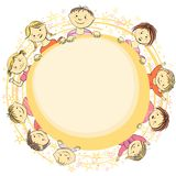 Vector frame circle for text with children. Smiling children holding a scroll for the ad, frame for text Stock Image