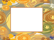 Vector frame with circles and flowers Royalty Free Stock Photo