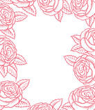 Vector frame - classic retro pink roses Royalty Free Stock Image