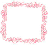 Vector frame - classic retro pink roses Stock Image