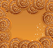 Vector frame with cookies sprinkled with sesame. Seeds and sugar Royalty Free Stock Photo