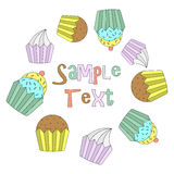 Vector frame of cupcakes Royalty Free Stock Photo
