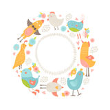 Vector frame with cute birds Royalty Free Stock Photo