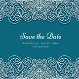 Vector frame with cutout lace borders. Swirly frame with lace border pattern, cutout paper decoration for wedding invitation or save the date card design Royalty Free Stock Image