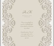 Vector frame with cutout lace borders. Vintage frame with lace border pattern, cutout paper decoration for wedding announcement or invitation design royalty free illustration