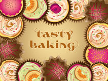 Vector frame of different cakes Royalty Free Stock Image