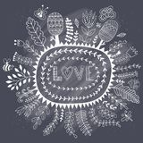 Vector frame, doodle flowers and love lettering. The word love.Romantic background. Chalk texture on chalkboard blackboard.  Royalty Free Stock Photo