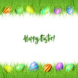 Vector frame of Easter eggs and green grass. Happy Easter background. Vector frame of eggs and green grass isolated on white Royalty Free Stock Images