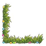Vector frame of Easter eggs and green grass. Vector frame of Easter eggs and green grass Green grass field background. Grass frame for your text, vector Stock Photography