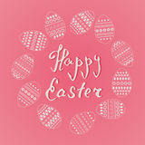 Vector frame of easter ornate eggs in circle shape on pink background. Fresh and spring design for greeting cards, textile, bookle. T, fabric, sticker, stencil Royalty Free Stock Photo