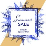 Vector frame with fern frond background and Summer Sale 50 percent off special offer text. Bracken grass blue and Indigo discount label border, marketing Royalty Free Stock Image