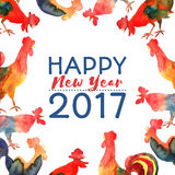 Vector frame with fire cocks and text Happy New Year 2017. Chinese calendar Zodiac for 2017 New Year of rooster. Editable  elements Royalty Free Stock Image