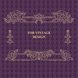 Vector frame with floral ornament on violet background. Royalty Free Stock Photography