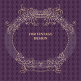 Vector frame with floral ornament on violet background. Stock Image