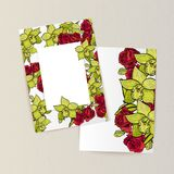 Vector frame with flowers. For postcard, price tag, flyer Stock Photos