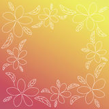 Vector frame with thin line flowers. Royalty Free Stock Photography