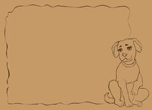 Vector frame with funny puppy Royalty Free Stock Image