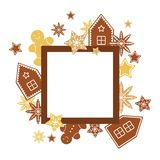 Vector frame with ginger cookies. Vector illustration Stock Photo