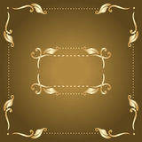 Vector frame. Vector gold frame with vintage floral elements Royalty Free Stock Image
