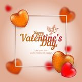 Vector frame with golden and red hearts to Happy Valentine`s Day consisting of polygons and points with flying dove. Perfect to use for print layouts, web Stock Images