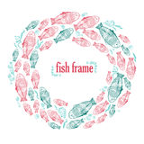 Vector frame with hand draw green and red fishes Stock Images
