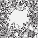 Vector frame with hand drawn doodle fancy flowers Stock Photos