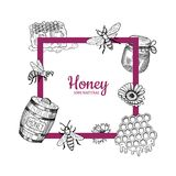 Vector frame with hand drawn honey elements royalty free illustration