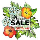 Vector frame with hand drawn tropical flowers and plants. And watercolor texture. Summer sale 50 percent discount template Stock Photos