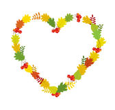 Vector frame heart of autumn leaves Stock Photo
