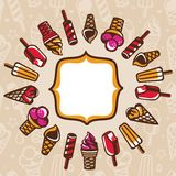 Vector frame with ice cream Stock Photos